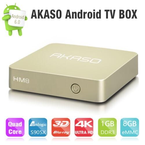 Akaso HM8 Smart TV Box UHD 4K HDMI Android 6.0 S905X Quad Core 1G+8G WIFI