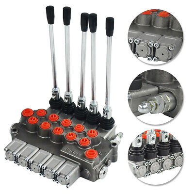 5 Spool Hydraulic Directional Control Valve 11gpm Double Acting Cylinder Spool