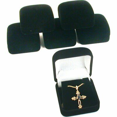 6 Black Flocked Earring Pendant Gift Boxes