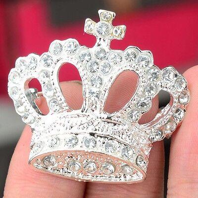 Brosche Silber Anstecknadel Krone Kronenbrosche Strass Damen Kristall Brosche