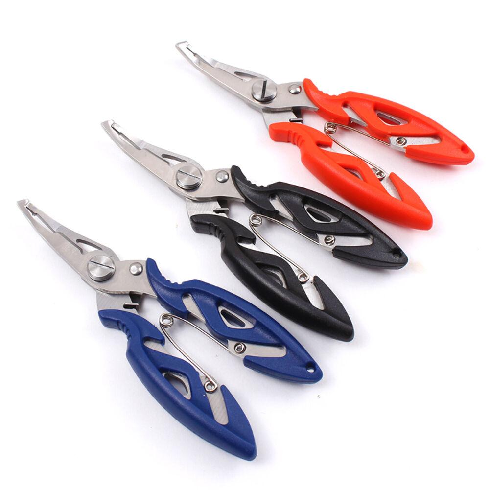 Stainless steel fishing pliers scissors line cutter hook for Steel fishing line