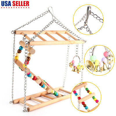 Bird Ladder Colorful Chew Toy Parrot Climbing Net Pet Hanging Bridge Cage (Bell Ladder)