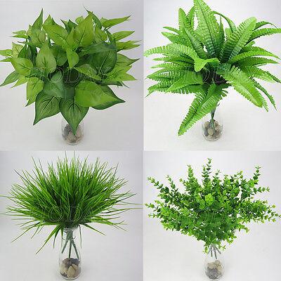 Artificial Plants Indoor Outdoor Fake Leaf Foliage Bush Home Office Garden Decor
