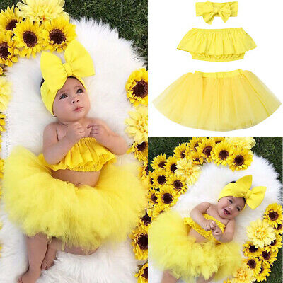 US 3PCS Toddler Kids Baby Girl Outfits Clothes Shirt Tops+ Tutu Skirt Dress Set