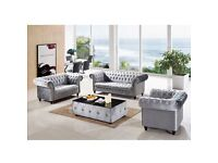 Grey velvet chesterfield sofa set with table