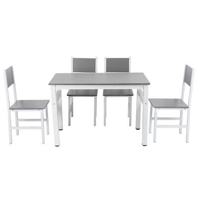 5 Piece Dining Table Chair Set 4 Chairs Kitchen Dining Room Breakfast Nook White