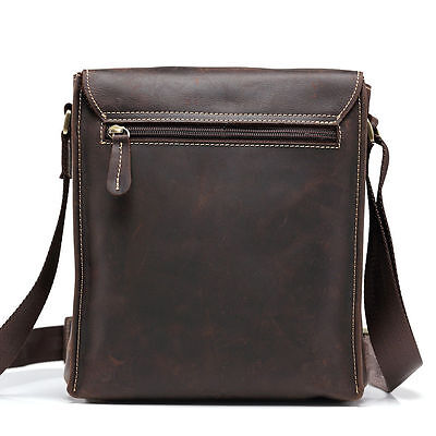 Men Crazy Horse Genuine Leather Laptop Shoulder Bag Vintage Handbag Briefcase