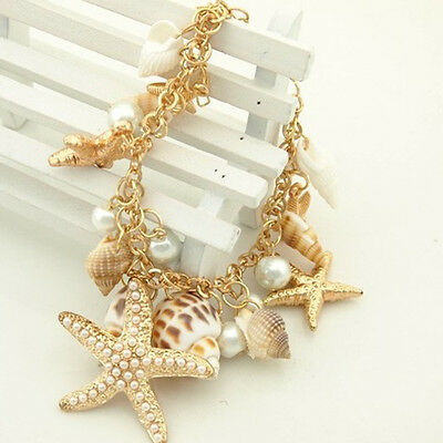 (Women Sea Shell Starfish Faux Pearl Pendant Bracelet Bangle Jewelry Gift Healthy)