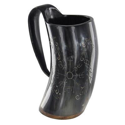 Norse Viking Icelandic Vegvisir  Jormungandr Drinking Horn Mug