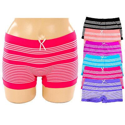 6 Pack Seamless Boyshorts Womens Underwear Panties Stretch Boxer Briefs One Size