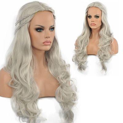 HELLOJF333  Long silver gray Khaleesi Grey Cosplay wigs for Halloween Wig