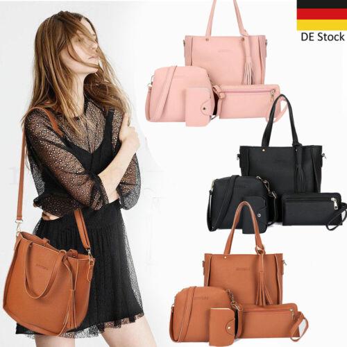 4 Set Damenhandtasche Umhängetasche Handtasche Damenbörse Leder Rucksack Wallet