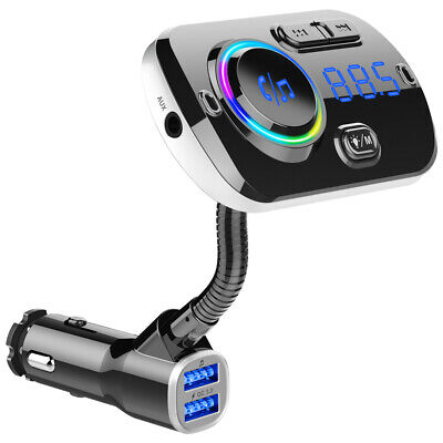 Car Bluetooth Wireless AUX Stereo Audio Receiver FM Transmitter Radio Adapter TF
