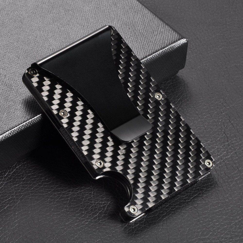 Купить Slim Carbon Fiber Credit Card Holder RFID Blocking Metal Money Clip Purse Wallet