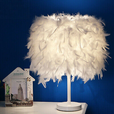 Vintage Bedside Table Lamp Feather Shade Elegant Night Light Lampshade Bedroom