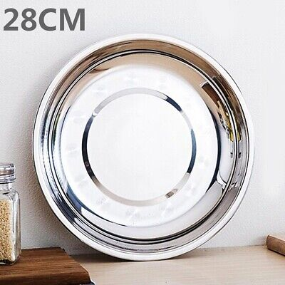 Camping Stainless Steel Tableware Dinner Plate Dish Food Container Tray 7Sizes ()