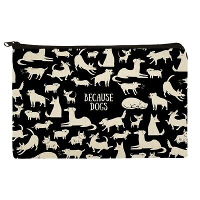 Because Dogs Funny Playing Around Makeup Cosmetic Bag Organizer Pouch