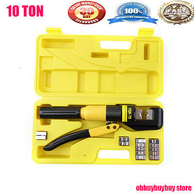 10 Ton Hydraulic Wire Battery Cable Lug Terminal Crimper Crimping Tool 9 Dies OY