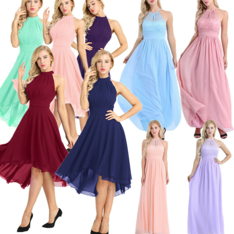 Womens Halter Neck Formal Prom Party Bridesmaid Wedding Ball Gown Cocktail Dress