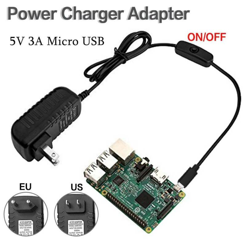 5V 3A Micro USB Power Supply Charger Adapter On/off Switch