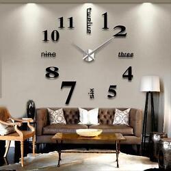 DIY Decorative Large 3D Wall Clock Big Living Room Office Stickers Art Black  TL