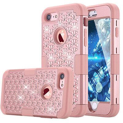 Full Diamond Bling Sparkle Hybrid Shockproof Case Cover For iPhone 6s 7 Plus Bag Full Diamond Bling