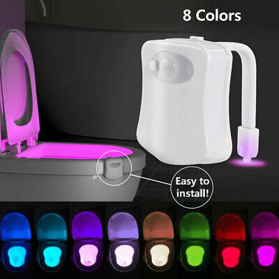 2 Toilet Bowl Bathroom Toilet Night LED 8 Color Sensor Motion Activated Light US 2 Light Bowl Light