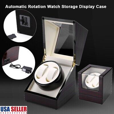 Automatic Rotation Dual Watch Winder Storage Display Case Wood Box Organizer US