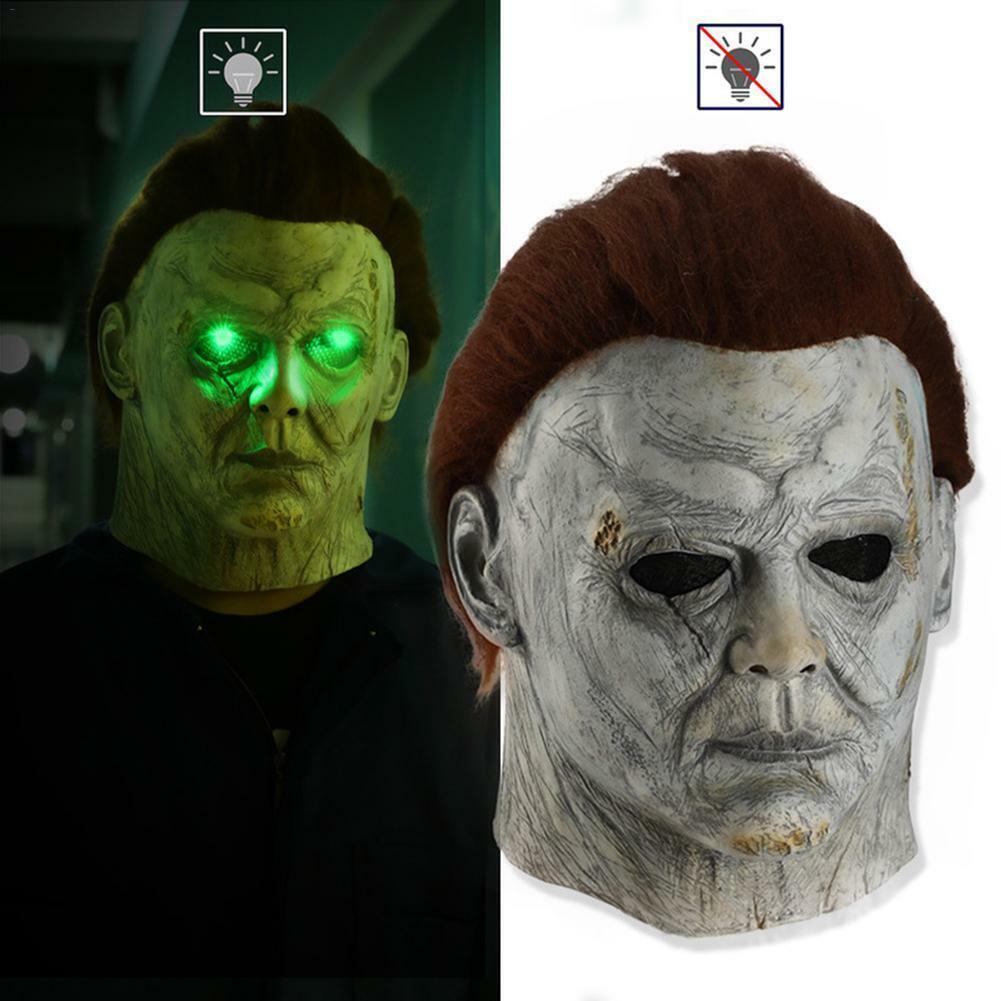 Halloween Horror Michael Myers Killer LED Maske Cosplay Gruseliges Latexkostüm