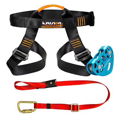 Fusion Pro Backyard Zip Line Kit Harness Lanyard Trolley Bundle FK-A-HLT-01