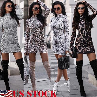 Sexy Women Choker Deep V Neck Long Sleeve Leopard Print Bodycon Party Club Dress Deep V-neck Dress