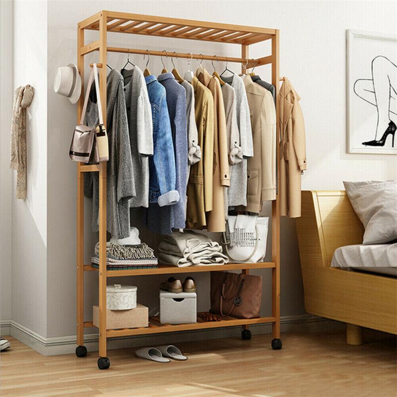 Bamboo Garment Closet Rack Clothes Storage Organizer Hanging Rail Shelf On-Wheel