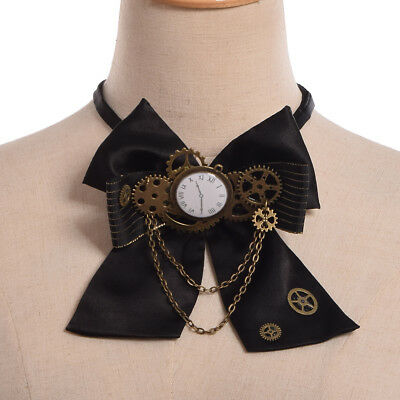 Steampunk Victorian Gear Clock Bowtie Fancy Dress Party Black Costume Bow Tie - Victorian Bow Tie