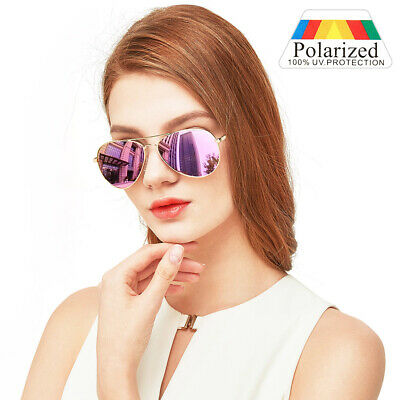 Polarized Aviator Sunglasses For Women Ladies Pink Mirrored Lens UV (Pink Polarized Aviators)