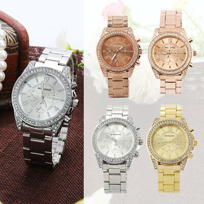 Women's Fashion Geneva Bling Crystal Stainless Steel Analog Quartz Wrist Watch