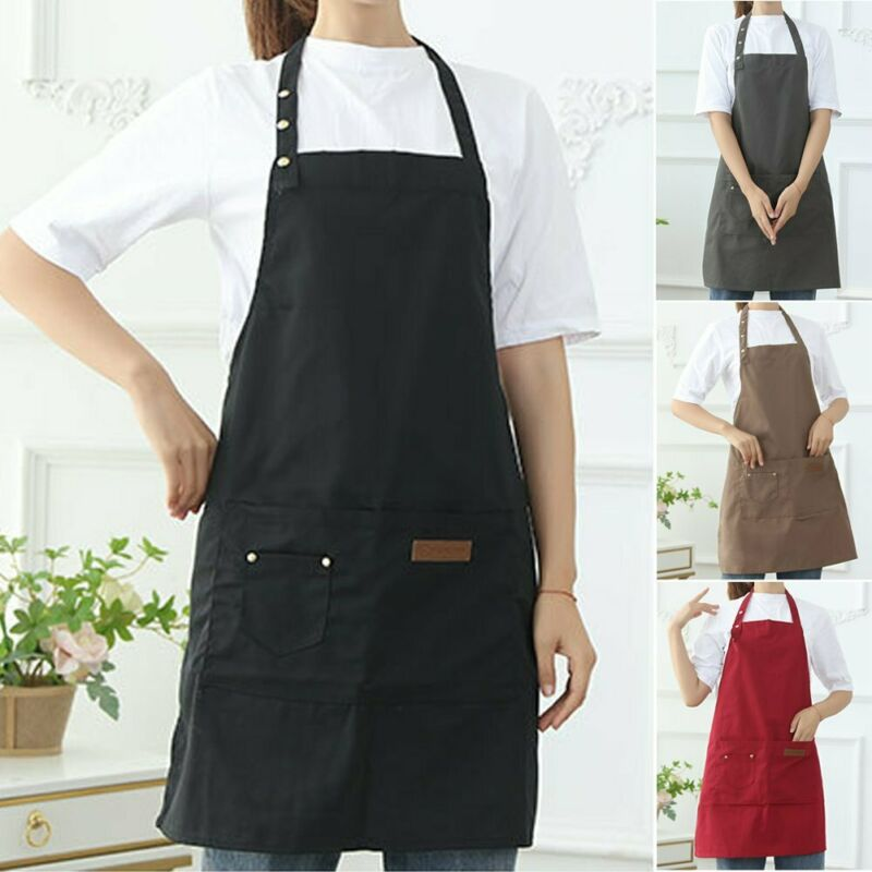 Men Women Apron Waterproof w/ Pockets Kitchen Restaurant Chef Cooking Bid Aprons
