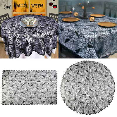 USA Halloween Spider Web Tablecloth Round Table Topper Cloth Cover Party Decor