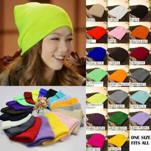 Mens Women Beanie Knit Ski Cap Hip-Hop Blank Color Winter Warm Unisex Wool Hat - BRAND NEW - FREE SHIPPING