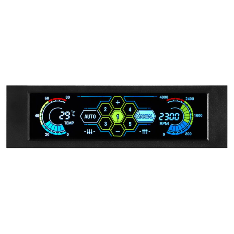 5 Channel LCD Display Touch Control Auto PC Cooling Fan Speed Controller Trendy
