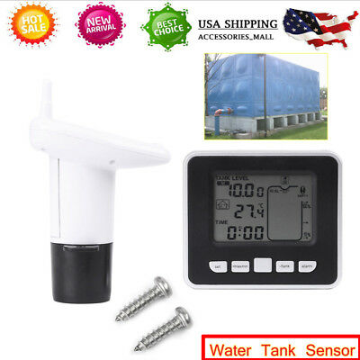 Wireless Ultrasonic Water Tank Liquid Level Meter Temperature Sensor Transmitter