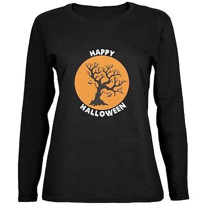 Halloween Tree Silhouette (Happy Halloween Tree Silhouette Black Womens Long Sleeve)