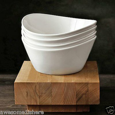 White Salad Bowls 4 Pc. Porcelain Ceramic Dishes Oven Safe Soup Pasta Ice Cream ()