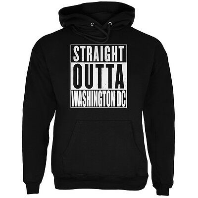 Straight Outta Washington DC Black Adult Hoodie