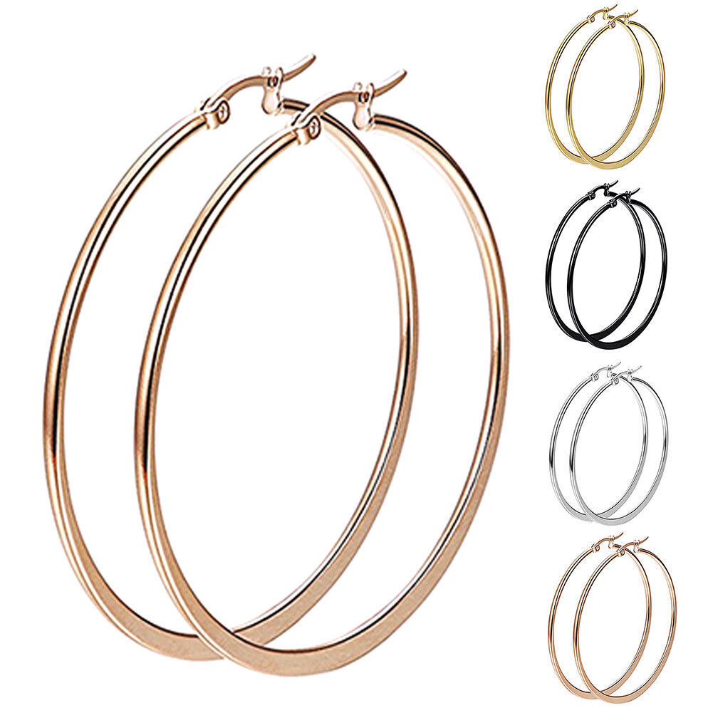 1 Pair Sexy Women Stainless Steel Smooth Big Large Hoop Earrings Jewelry 40-60mm