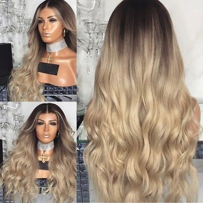 Fashion Long Curly Hair Full Wig Heat Resistant Synthetic Hair Blonde Wigs Ombre - Curly Blond Wig
