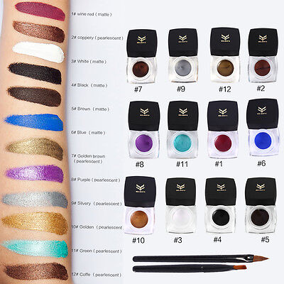 Fashion 3 Bottles Eyeliner Gel 2 In 1 Colors Eye Makeup Cosmetic With Brushes