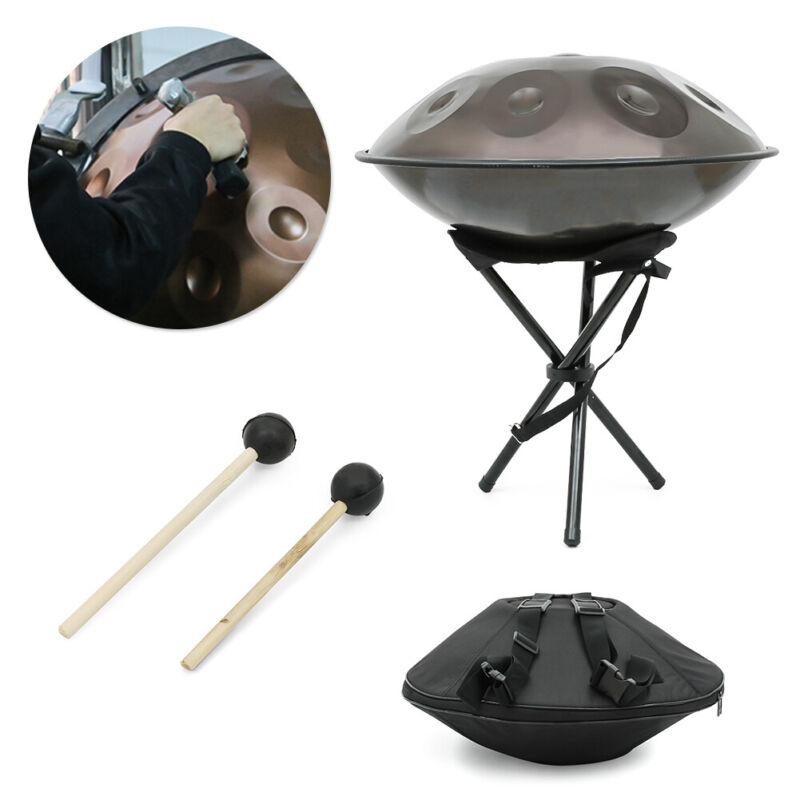 "22"" Professional 9 Notes Handpan Hand Pan Drum DC04 Steel + Stand + Bag + Hammer"