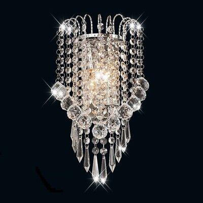 - Crystal Wall Sconce Light Fixture Modern Chrome Lamp Vanity Hallway Steel Glass