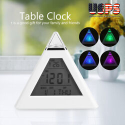 7 Color LED Digital Alarm Clock Desk Table Wall Snooze Timer Temperature 8 Songs