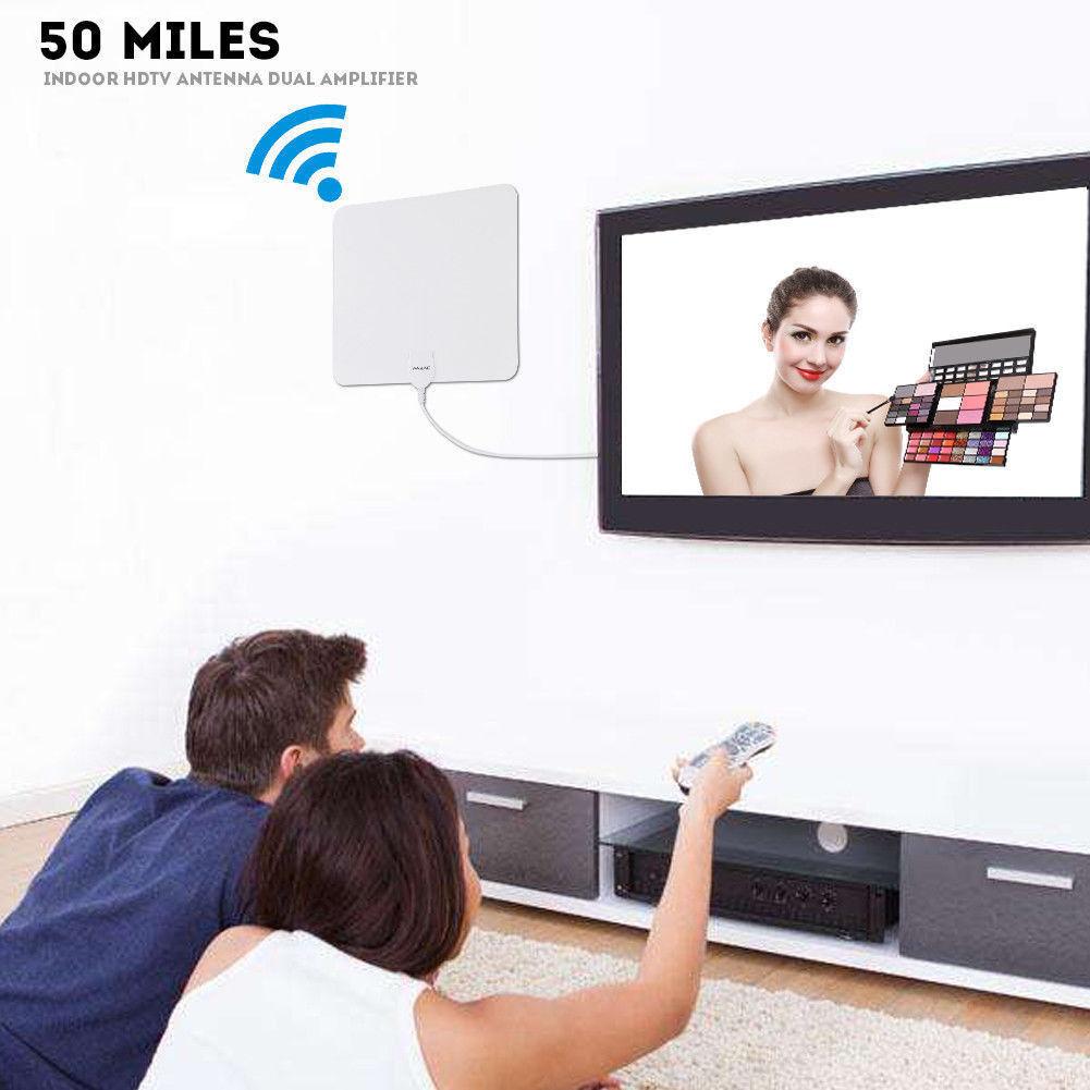 50 Miles Range Flat HD Digital Indoor Amplified TV Antenna A